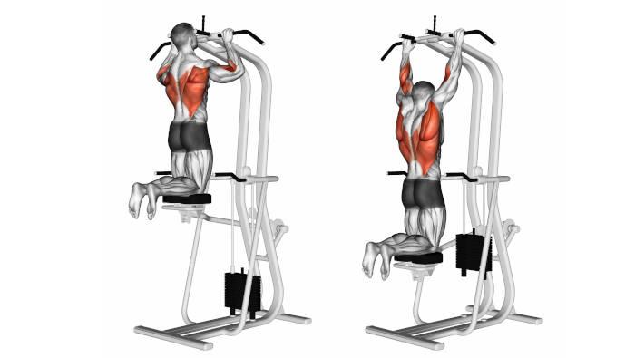Klimmzüge am Klimmzug-Gerät, für Anfänger, die ihr eigenes Körpergewicht noch nicht schaffen